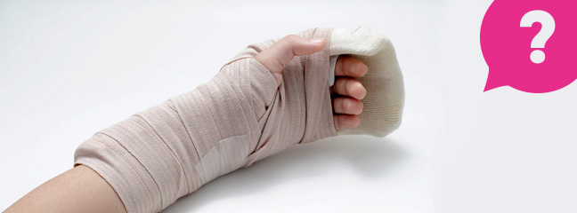 An injured hand bandaged with a splint