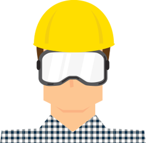 cartoon man wearing protective clothing such as hard hat and goggles
