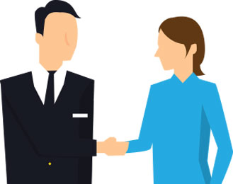 cartoon man shaking hands and settling the claim with employer